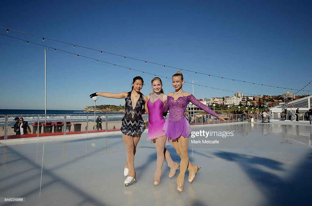 Young ice skaters pose at Bondi Beach on July 2, 2016 in Sydney, Australia. Australia's only beachside ice rink is part of the Bondi Winter Magic Festival, which celebrates the beauty of Bondi during the winter months.