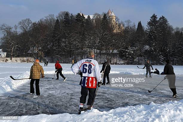 Young icehockey players enjoy a game at the pond on January 10 in front of the Konopiste Chateau some 40Kms far from Prague AFP PHOTO/ MICHAL CIZEK