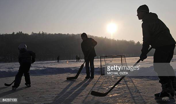 Young icehockey players enjoy a game on a iced pond on January 10 near Benesov some 50Kms far from Prague AFP PHOTO/ MICHAL CIZEK