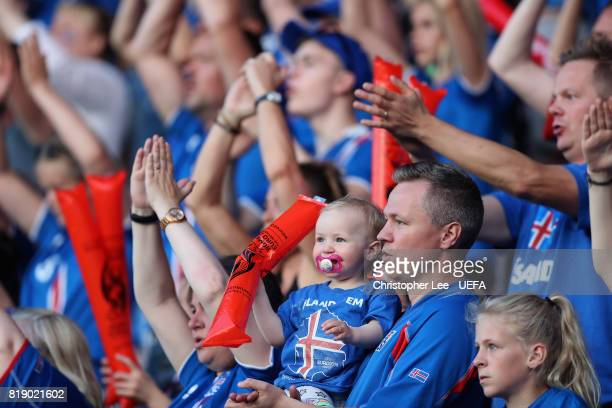 A young Iceland fan during the UEFA Women's Euro 2017 Group C match between France and Iceland at Koning Willem II Stadium on July 18 2017 in Tilburg...