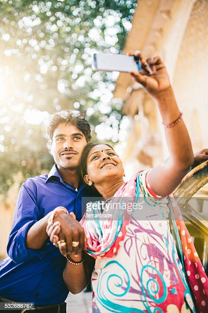 Young Indian Couple taking a Selfie in Jaipur India