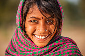 Young Indian girl in desert village