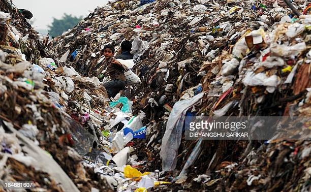 Young Indian ragpickers search for valuables and recyclable materials at the city's largest legal municipal waste landfill in Mavallipura village on...