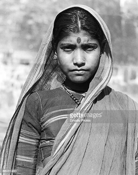 A young Indian woman in traditional dress in Maharashtra India 1940s