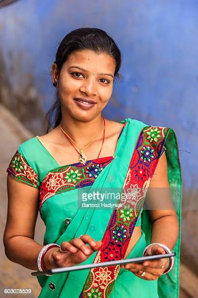 Young Indian woman using digital tablet, Jodhpur
