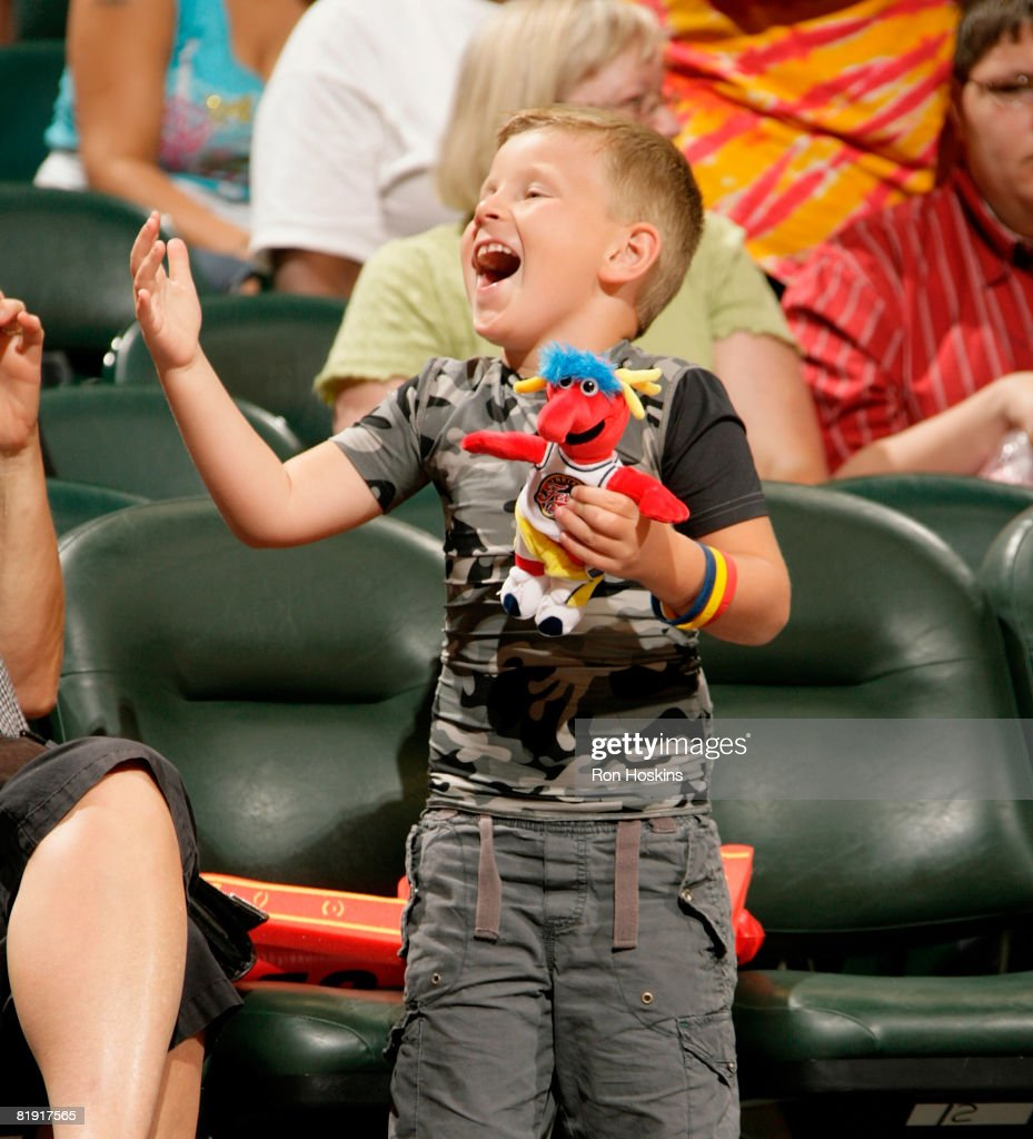 A young Indiana Fever fan has some fun as the Fever took on the Chicago Sky at Conseco Fieldhouse on July 12 2008 in Indianapolis Indiana NOTE TO...