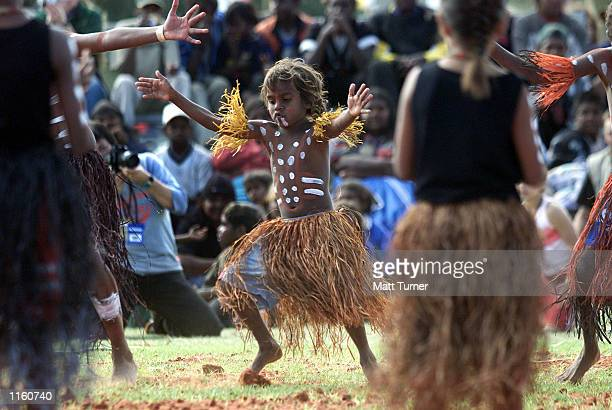 A young indigenous performer from 'Lockheart River' dances with others during the Yeperenye Federation Festival September 9 2001 in Alice Springs...