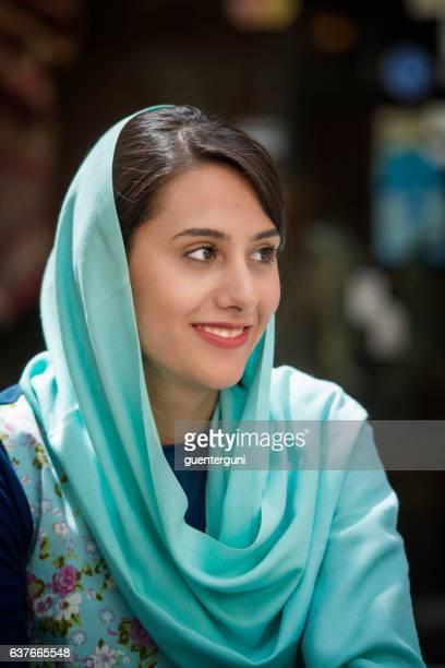 Young iranian woman wearing a headscarf, Isfahan, Iran
