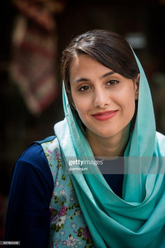 young iranian woman wearing a headscarf isfahan iran stock