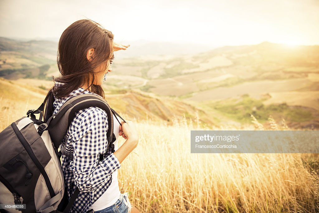 Young italian woman walking in the nature