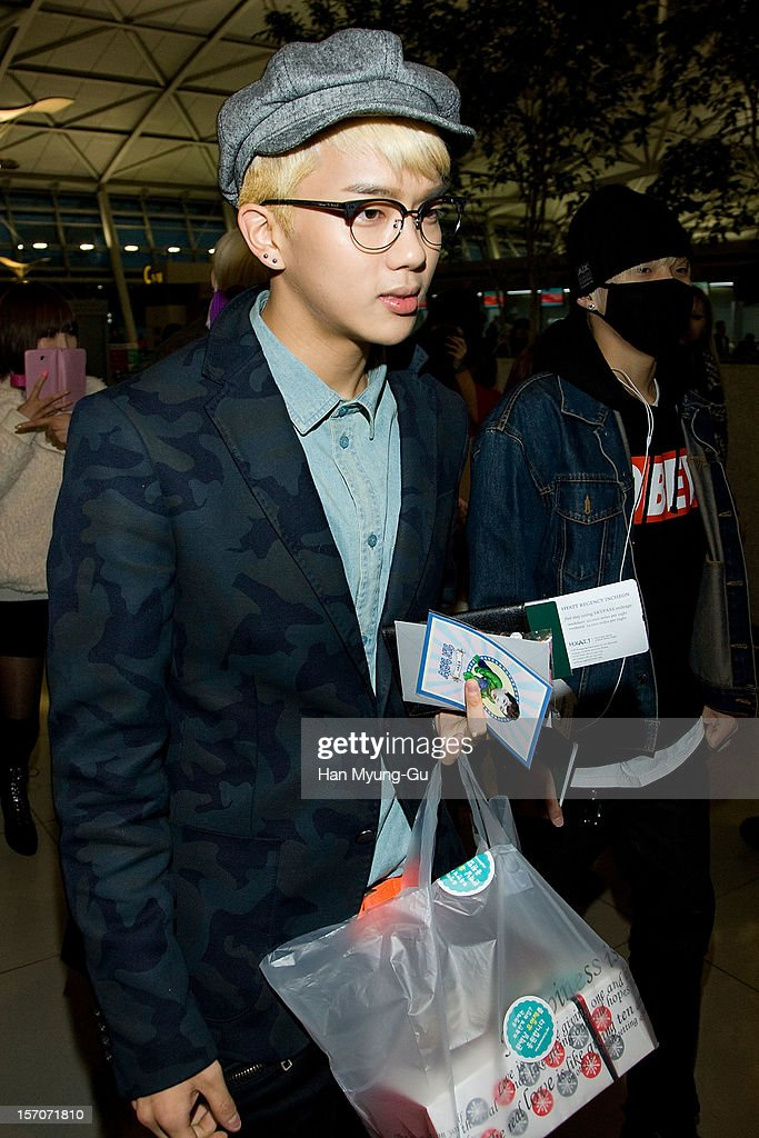 Young Jae of South Korean boy band B.A.P is seen at Incheon International Airport on November 28, 2012 in Incheon, South Korea.
