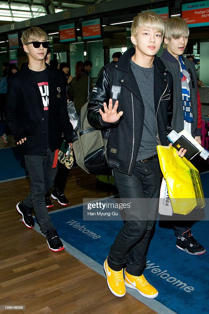 Young Jae of South Korean boy band B.A.P is seen at Incheon International Airport on January 15, 2013 in Incheon, South Korea.