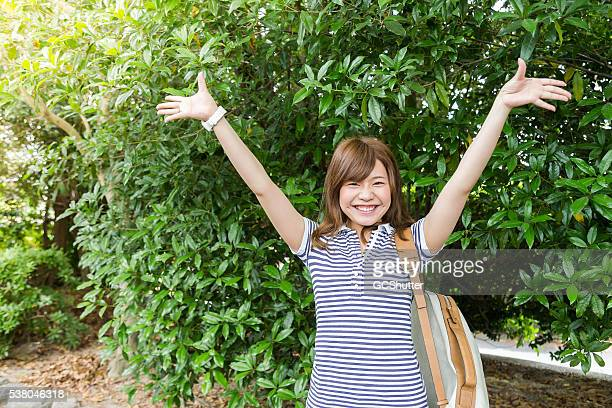 Young Japanese Girl Overwhelmed with her Success