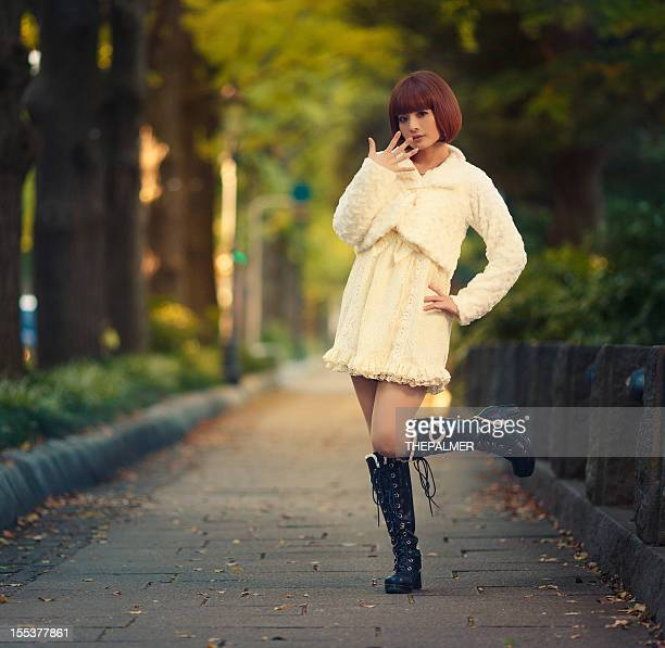 young japanese girl walking