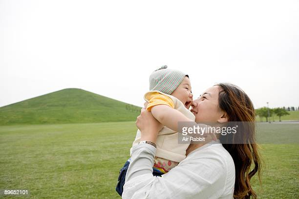 Young Japanese mother and baby