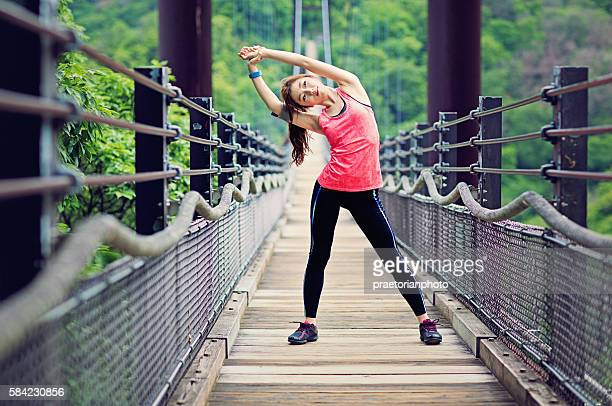 Young Japanese woman doing her exercising