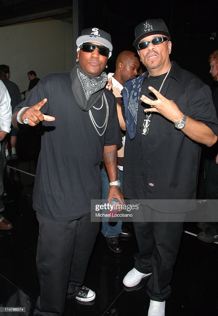 Young Jeezy and Ice T during 2006 VH1 Hip Hop Honors Backstage and Audience at Hammerstein Ballroom in New York City New York United States