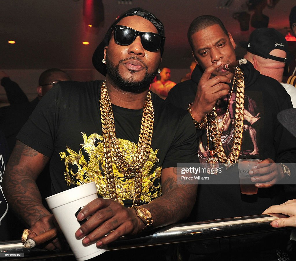 Young Jeezy and Jay-Z attend the So So Def anniversary party hosted by Jay Z at Compound on February 23, 2013 in Atlanta, Georgia.