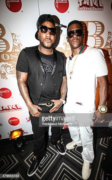 Young Jeezy and Lil Boosie attend The LIL Boosie press conference at W Hotel New Orleans on March 10 2014 in New Orleans Louisiana