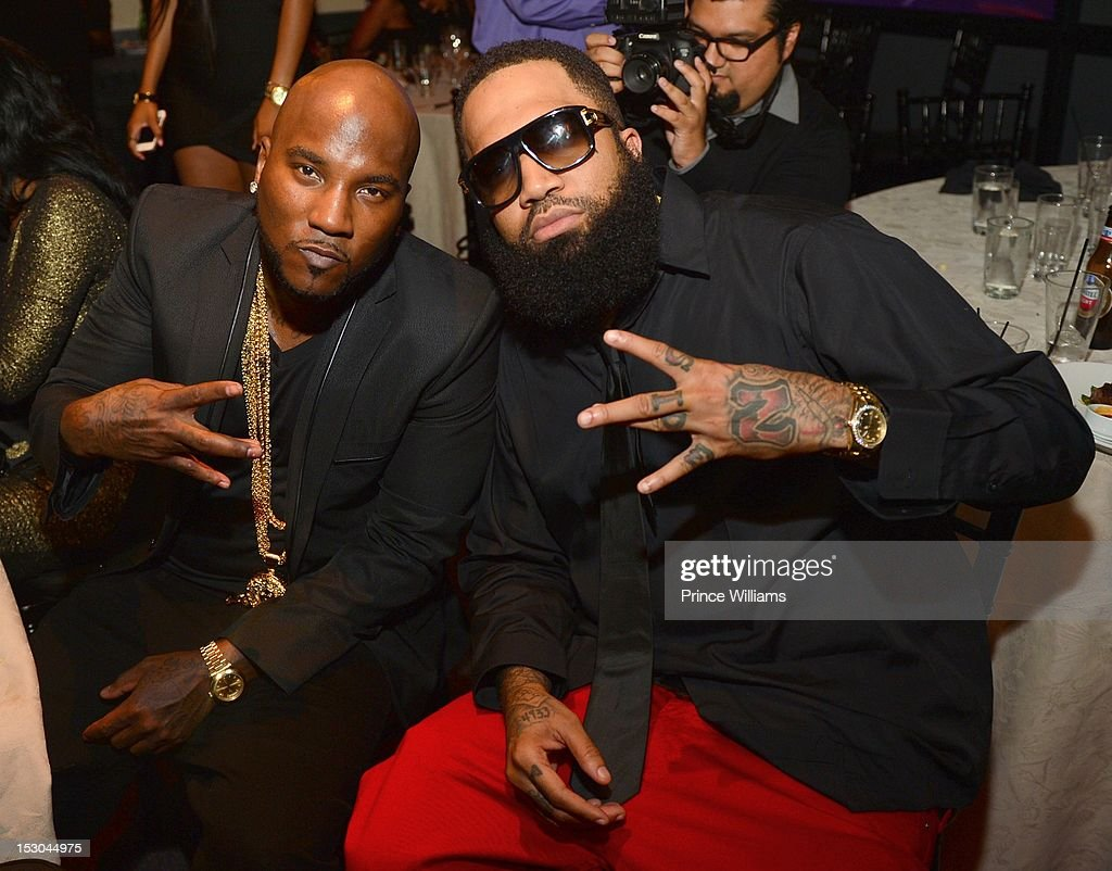 Young Jeezy and Tone Trump attend Jeezy's birthday extravaganza at Reign Nightclub on September 28, 2012 in Atlanta, Georgia.