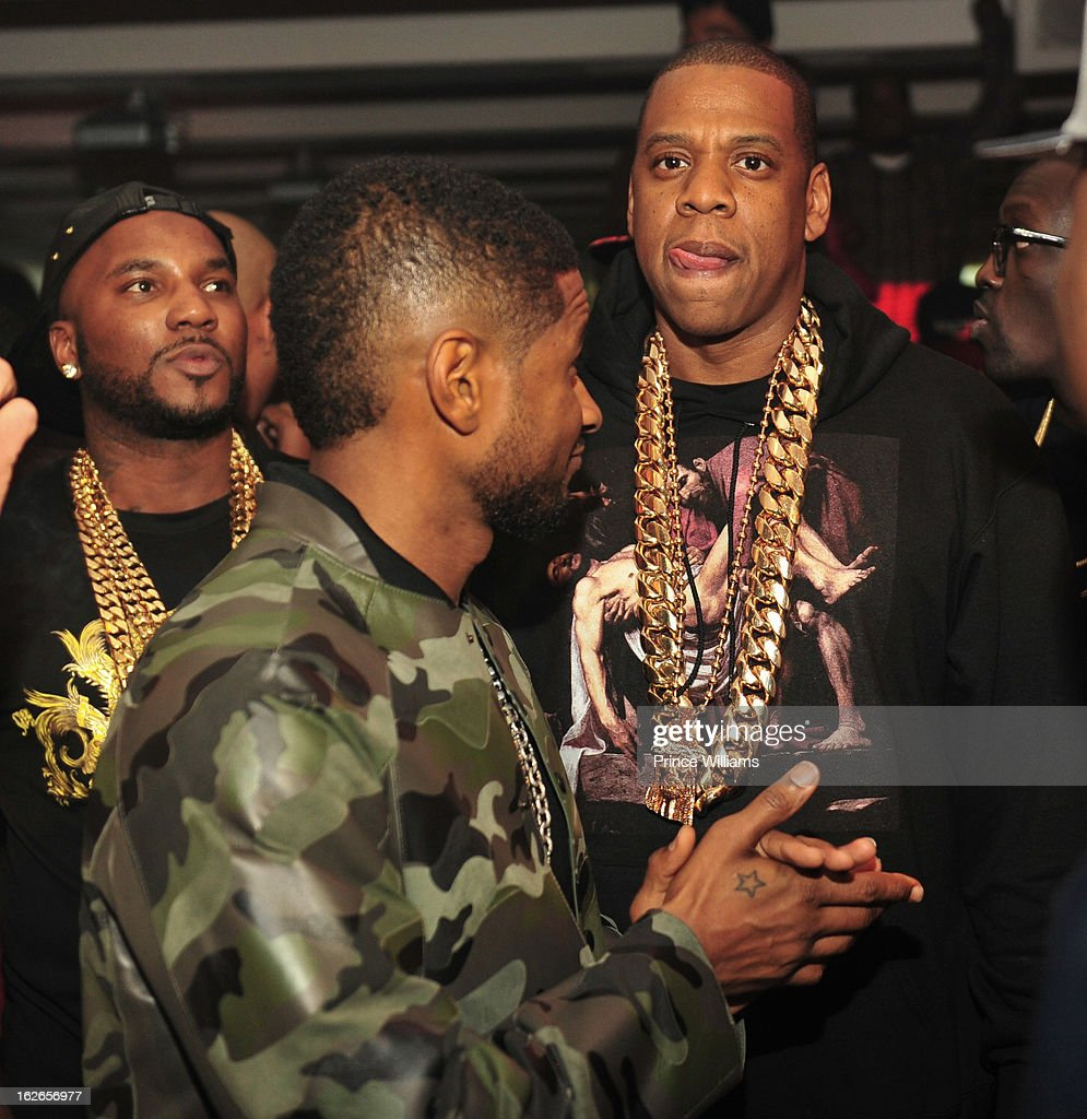 Young Jeezy, Usher and Jay-Z attend the So So Def anniversary party hosted by Jay Z at Compound on February 23, 2013 in Atlanta, Georgia.