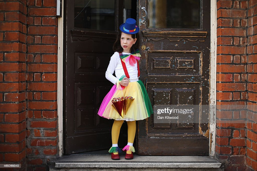 A young Jewish child wears fancy dress during the Jewish holiday of Purim on March 5 2015 in London England The annual Purim holiday is celebrated by...