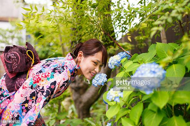 Young Kimono girl smelling blue hydrangea flowers