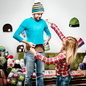 Young knitter woman sweater present for displeased boyfriend