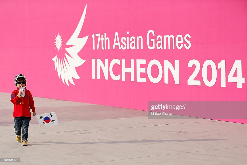 Young Korean children come to watch the Opening Ceremony of the 2014 Asian Games at Incheon Asiad Stadium on September 19 2014 in Incheon South Korea