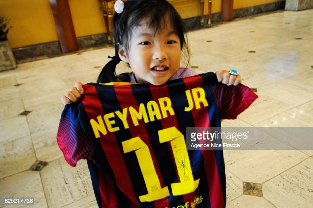 Young Korean fan of Neymar during the FC Barcelona Asia Tour on June 8 2013 in Bangkok Thailand