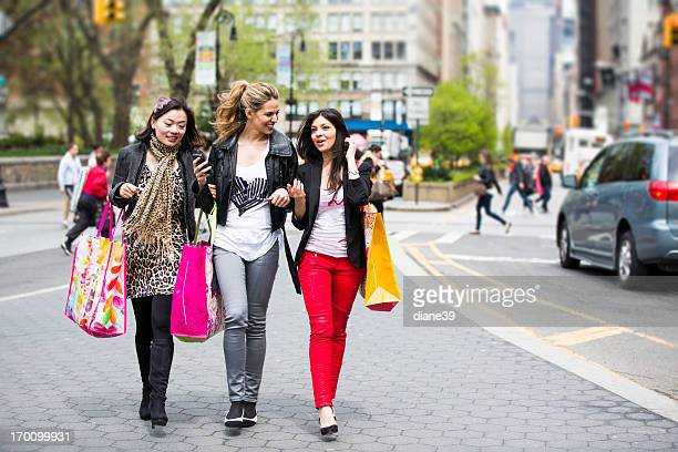 Young ladies shopping in New York City