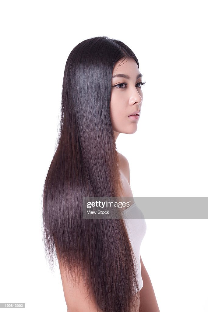 Young lady and silky hair
