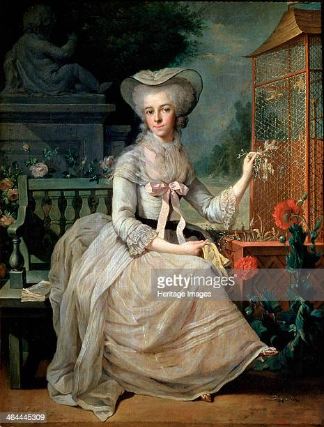 'Young Lady at a Cage' 1784 Found in the collection of the State A Pushkin Museum of Fine Arts Moscow