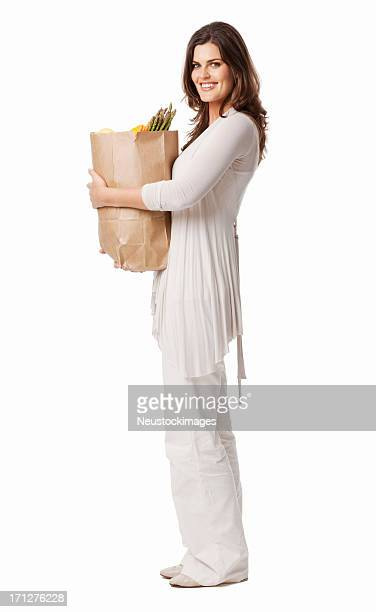 Young Lady Holding Bag Of Groceries - Isolated