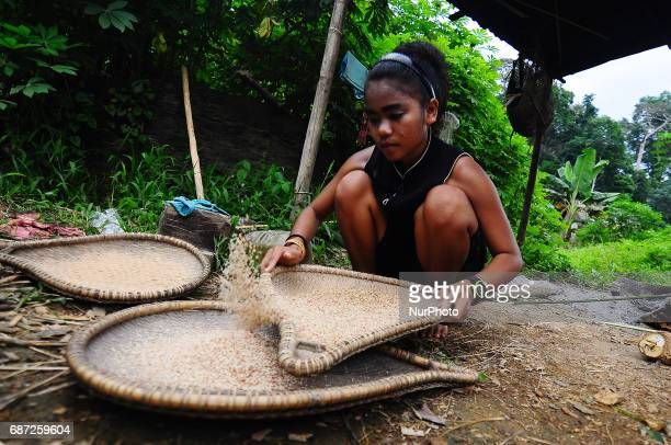 A young lady of Che Wong Mahani husking rice to prepare lunch for her family in a rural village in Malaysia on 23 May 2017 Che Wong is one out of...