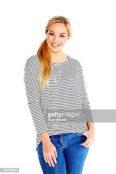 Junge Dame posieren auf weißem Hintergrund