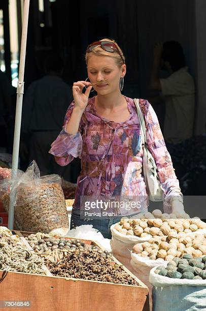 Young lady shopping in the spice market - Dubai