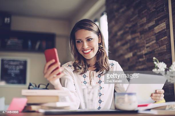 Young, latin businesswoman working at home