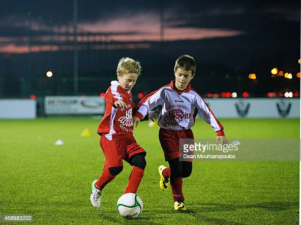 Young local players train during the official opening day of the Premier League's new 3G pitch being donated to the city of Ypres and KVK Westhoek as...