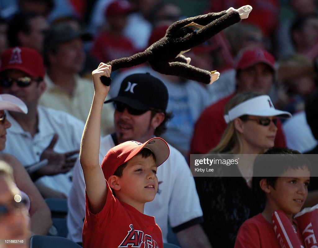 A young Los Angeles Angels of Anaheim male fan swings a Rally Monkey during 7-5 loss to the Florida Marlins at Angel Stadium in Anaheim, California on Sunday, June 19, 2005.