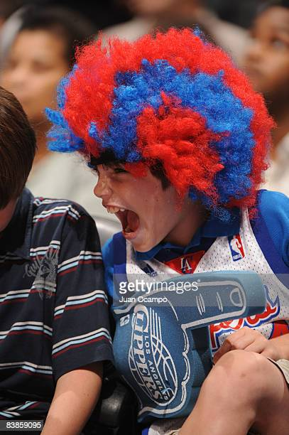A young Los Angeles Clippers fan reacts during the game against the Miami Heat at Staples Center on November 29 2008 in Los Angeles California NOTE...