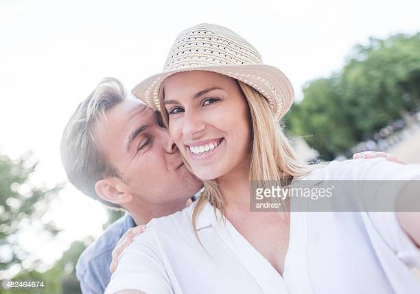 Young loving couple on a date at the park