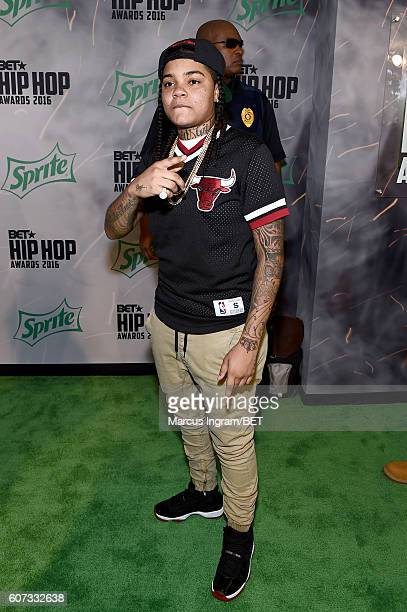 Young MA attends the BET Hip Hop Awards 2016 Green Carpet at Cobb Energy Performing Arts Center on September 17 2016 in Atlanta Georgia