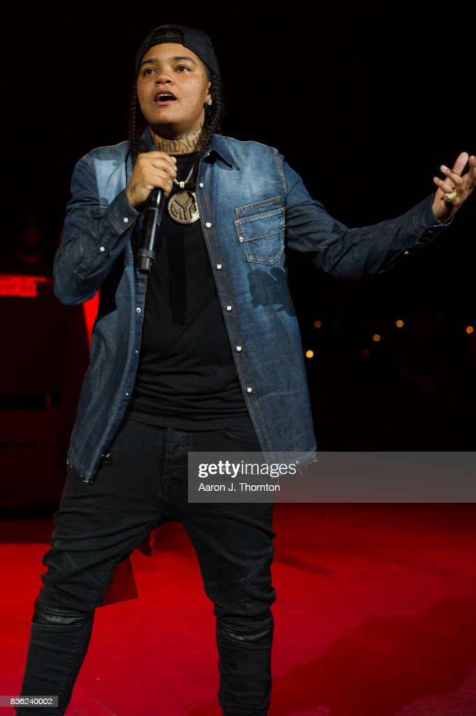 Young M.A performs on stage at Chene Park on August 20, 2017 in Detroit, Michigan.