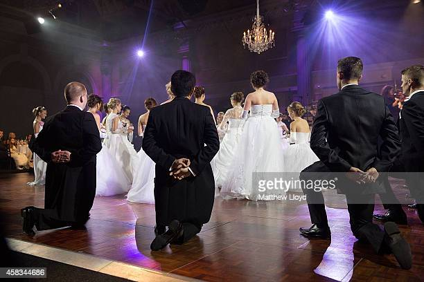 Young mainly Russian debutantes make their first dance before the assembled audience in Old Billingsgate Hall on November 2 2014 in London England...
