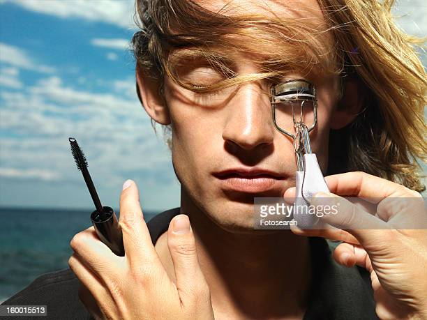 Young Male Getting Eyelashes Curled