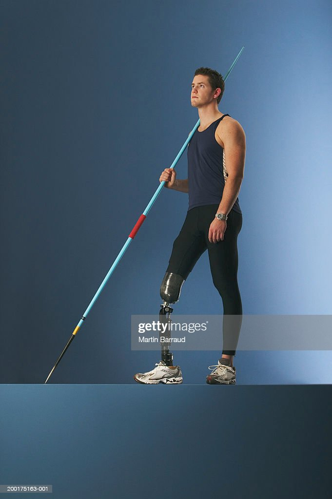 Young male javelin thrower with prosthetic leg