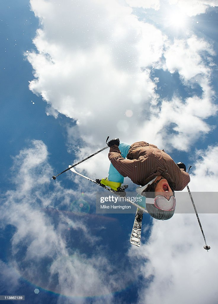 Young Male Skier Doing Tricks Off Bansko Mountains : Stock Photo