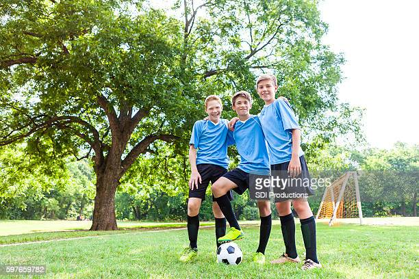 Young male soccer players before the game
