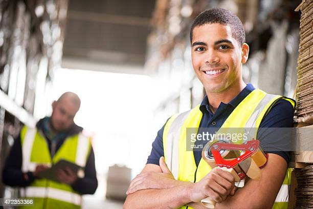 young male warehouse worker portrait